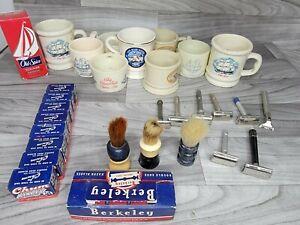 Vintage Old Spice 8 Shaving Mug, 3 Brush, 7 Razor, 170 Blades cologne bottle LOT