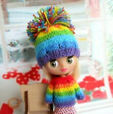 SET hat, sweater for Petite Blythe doll clothes rainbow outfit mini dolls 1/12