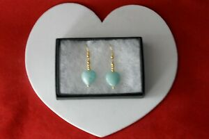 Pretty Gold Plated Earrings With Opaline 2.4 Gr. 3 Cm. Long In Gift Box