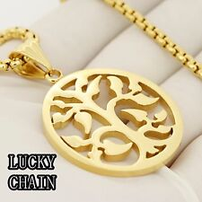 """24"""" STAINLESS STEEL GOLD ROUND BOX CHAIN NECKLACE TREE OF LIFE PENDANT/34g/E694"""