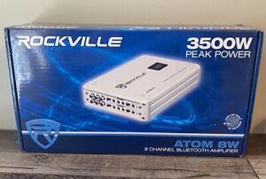 Rockville Atom 8W 8 Channel 3500 Watt Marine/Boat Amplifier Amp w/Bluetooth