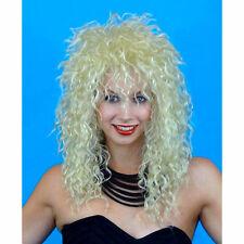 80s Rock Star Shaggy Crimped Blonde Wig Unisex Women's fancy dress costume WIG