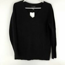 Halogen 100% Cashmere V Neck Sweater Petite Size Small S Long Sleeve Black NEW