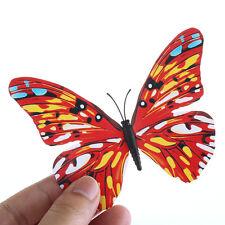 12 un. 3D Mariposa Pared Arte Calcomanía Pegatinas Imán Mural Decoración Hogar Rojo