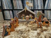 Vintage Handcrafted Artisanal Nativity Set Wood  Folk Art Christmas Ornament