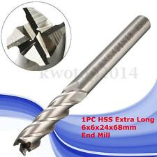 1PC Extra Long 6mm 4 Flute HSS & Aluminium End Mill Cutter CNC Bit Extended