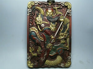 """8.27"""" Collect exquisite Redwood gilt carved painted Guan gong Thangka Wall Hang"""