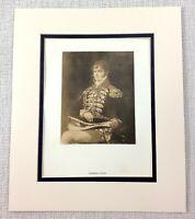 1922 Antico Stampa Francisco Goya Pittura Di Generale Guye Militare Ritratto Art