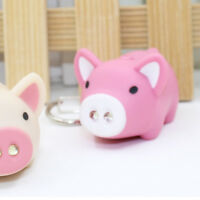 Lovely Pig LED Keychain with Sound Key Holder Mini Torch Flashlight Kids Toy