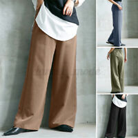 Womens Oversized Elastic Waist Wide Leg Pants Ladies Casual Loose Baggy Trousers