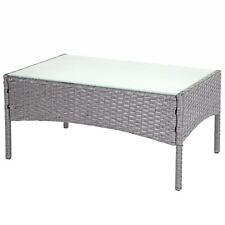 Poly-Rattan Gartentisch Hamar, Beistelltisch Tisch mit Glasplatte, grau