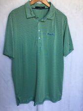 RLX Ralph Lauren XL Mens Golf Shirt Green Blue Striped Polo