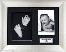 Baby Casting Kit Silver Hands & Feet Antique silver 3D Frame Christening Gift