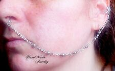 Silver Chain Nose to Ear Chain Non piercing nose ring fake nose chain septum