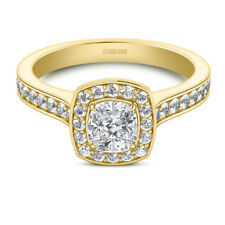 1.50 Ct Cushion Cut Bridal Diamond Wedding Ring 14K Solid Yellow Gold Size N O P