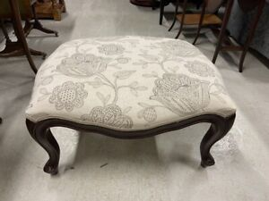 Victorian Style Floral Upholstered Window Seat / Footstool