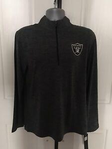 Mens M Oakland Raiders Majestic Gray Cool Base Quarter Zip Jacket