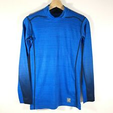 Nike Pro Combat Hyperwarm Dri Fit Compression Base Layer Shirt Blue Men's S