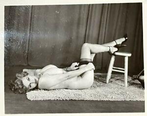 Vintage Original Silver Gelatin Photo 50s Pinup Cherrie Knight Huge Tits Nipples
