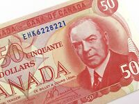 1975 Canada 50 Fifty Dollar Uncirculated EHK Prefix Crow Bouey Banknote R205
