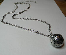 "BALL AND CHAIN NECKLACE DARK SILVER PLATED 24"" 60 cm LONG"