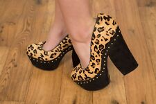 Topshop leopard print pony hair gold studded platform heels size 5