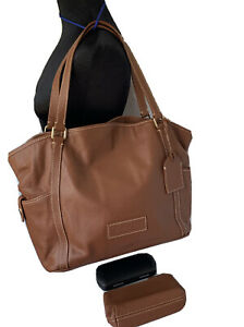 Dooney & Bourke Extra Large Shoulder Bag Brown Leather Purse Carry Tote  & Pouch