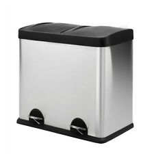 Rubbish Bin Kitchen Pedal Double Compartment Removable Flip Top Recycle 48l
