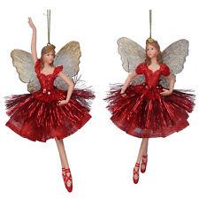 2 x Gisela Graham Red & Gold Hanging Fairy Princess Christmas Tree Decorations
