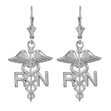14k White Gold Medical Registered Nurse Drop / Dangle Leverback Earrings