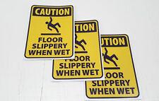 "SET OF 3 ""SLIPPERY WHEN WET"" WARNING STICKERS, WEATHERPROOF, UV STABLE,"