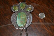 Large Superb Old Native American Navajo Sterling Silver Green Turquoise Bolo Tie
