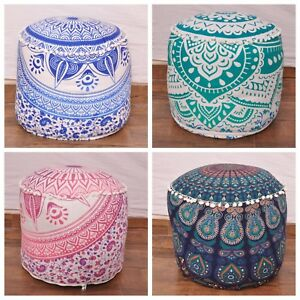 Mandala Pouf Ottoman Round Indian Ottoman Poof Pouffe Cover Foot Stool Ethnic