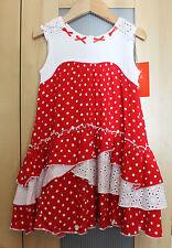 NWT Deux Par Deux Girls' Dot Dress in Red ~ Size 3