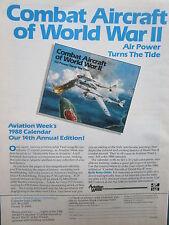 12/1987 PUB 1988 AVIATION WEEK CALENDAR PAUL LENGELLE WWII P-38 LIGHTNING AD