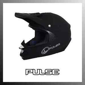 PULSE NEMESIS MATT BLACK MOTOCROSS MX ENDURO QUAD ATV OFF ROAD HELMET