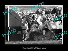 OLD LARGE HISTORIC PHOTO AUSTRALIAN HORSE RACING PETER PAN 1932 AJC DERBY