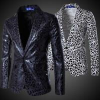 Mens Leopard Slim Fit Blazers Club Formal Coats Jackets Party Dress One Button