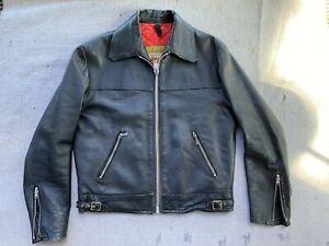 vintage MASCOT leather jacket centre zip S-M 38-40 punk biker motorcycle rock