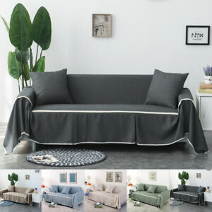 Cotton Linen Blend Slipcover Sofa Cover Protector for 1 2 3 4 Seaters Sofa Cover