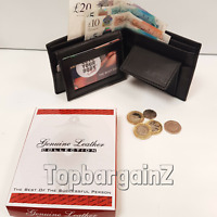 Genuine Leather Wallet Bifold Mens Black Slim Card Holder Coin Pocket Gift Box