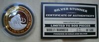 1 OZ  SILVER STUNNER TOKEN WOOLLY MAMMOTH LIM ED  62  OF 500 GOLD & SILVER