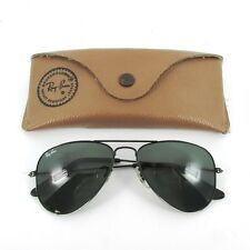 RAY BAN SMALL BLACK BAUSCH & LOMB AVIATOR 52mm SUNGLASSES OCCHIALI LUNETTES 80'S