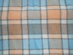Amana Woolen Mill Wool & Synthetic 50 X 60 Throw Blanket  - Blue, Apricot, Brown