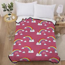 New Rainbow Blanket Warm Soft Single Size Bed Sofa Throw Rug Coverlet Plain Dyed