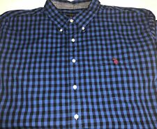 Mens US Polo Assn 3X Big Tall Long Sleeve Button Front Plaid Blue Black 3XLT