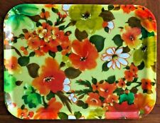 "Vintage Fiberglass Lunch / Serving / Cafeteria Tray Mid Century Floral 16"" x 12"""