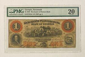 1859 Georgia Savannah $1 Merchants & Planters Bank Obsolete Currency PMG 20