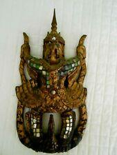 Wood Carving Statute GARUDA Bird Southeast Asia Gilt Jeweled  Antique 20th Cent