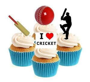 Novelty Cricket Mix 12 Edible Stand Up wafer paper cake toppers birthday